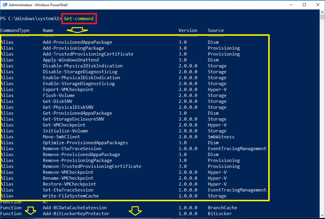Get-Command afficher list commandes powershell