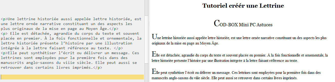 Creer une lettrine tutoriel first-letter HTML ou Calibre