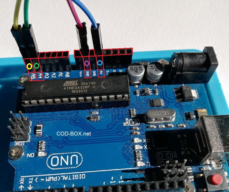 Arduino UNO LCM 1602 IIC l'image de branchement