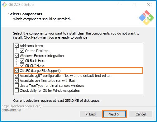 Powershell + Git + Select Components