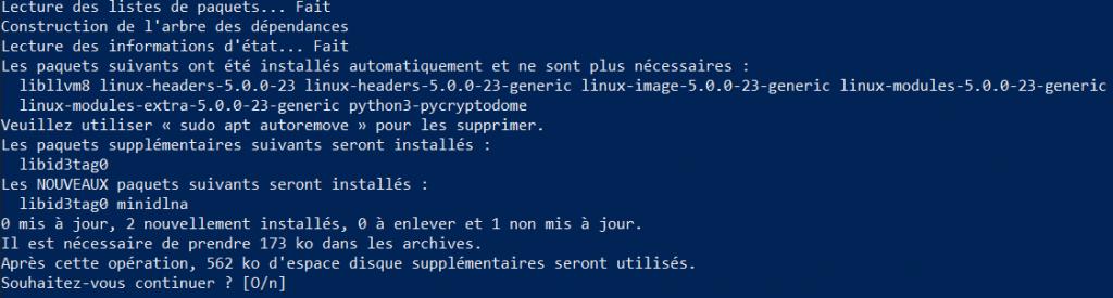 Mini DLNA Ubuntu tutoriel pas a pas - installation via terminal
