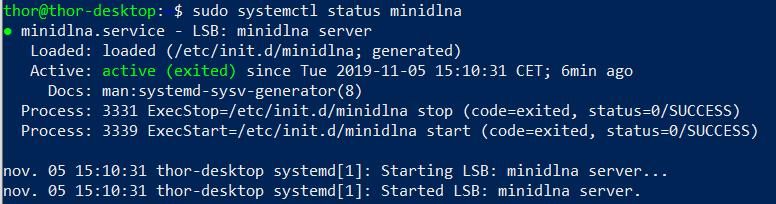 Ubuntu terminal commande status DLNA