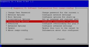 Activer SSH sur Raspberry etape 1 Interfacing Options