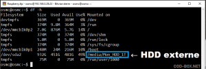 Ajouter disque externe autant que source média OSMC
