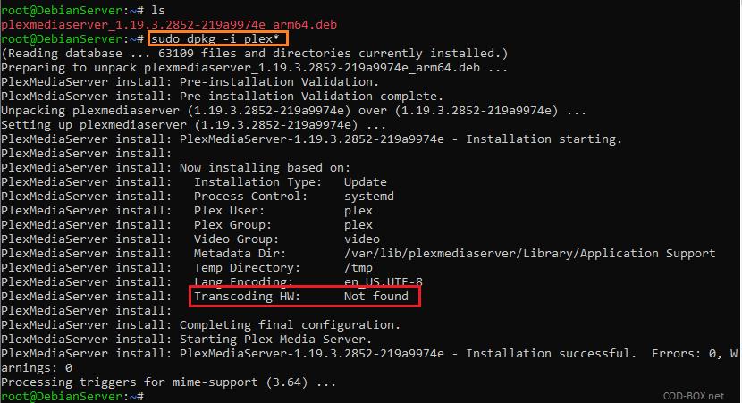 Install PlexMediaServer ARM HW Transcoding Not found