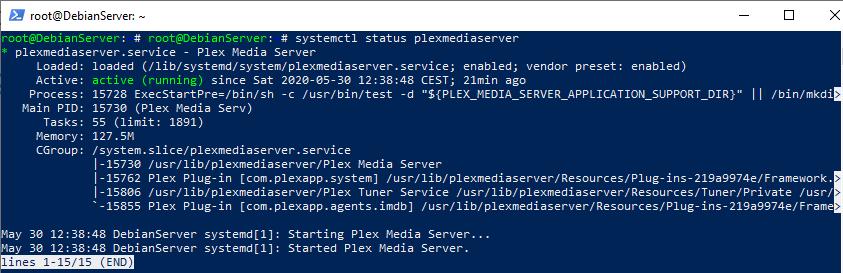 command status PlexMediaServer