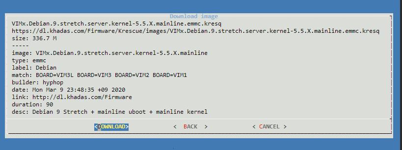 Khadas Krescue tutoriel Debian mainline