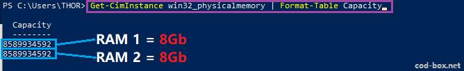 Powershell info capacity RAM