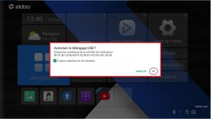 ZIDOO autoriser le débogage USB